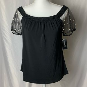 Inc sheer pearled sleeve blouse NWT